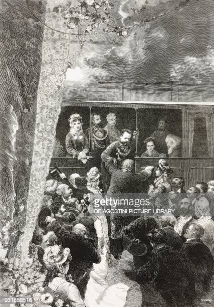 King Umberto I helping Benedetto Cairoli to board the train Naples Italy drawing by Giuseppe Cosenza engraving from L'Illustrazione Italiana Year 6...