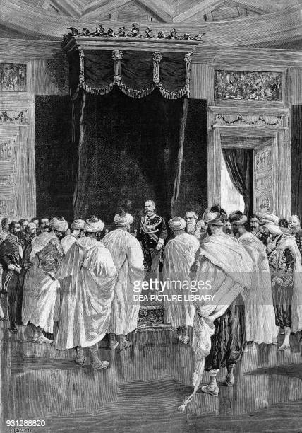 King Umberto I receiving the Moroccan ambassador in Milan Italy drawing by Edoardo Matania engraving from L'Illustrazione Italiana August 9 1885