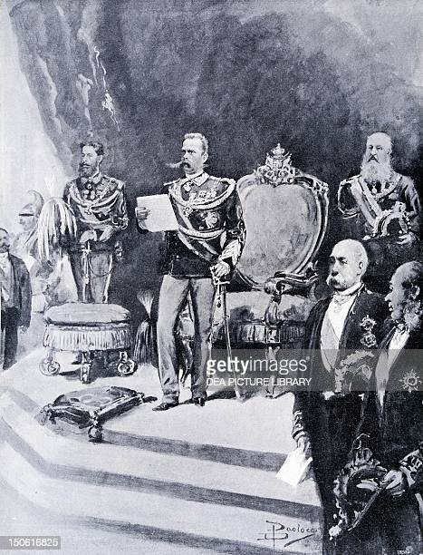 King Umberto I swearing allegiance to the State January 19 from Italian Illustration Italy 19th century