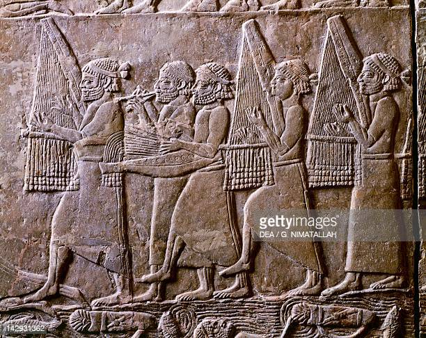 King Ummanigash being saluted detail from a relief from Nineveh Iraq Assyrian civilisation 7th Century BC London British Museum