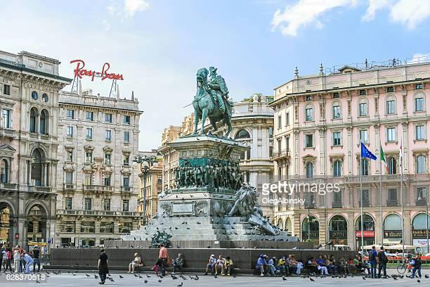 King Victor Emmanuel II Monument, Piazza del Duomo, Milan Italy.