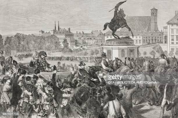 King Vittorio Emanuele II and Franz Joseph entering Vienna September 17 Vienna Universal Exhibition Austria illustration from Album della Esposizione...