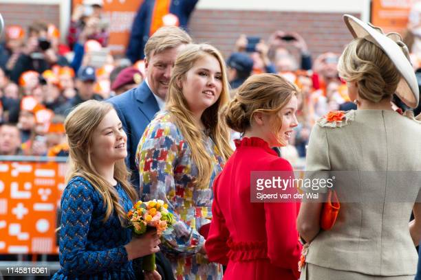 King Willem Alexander and Queen Maxima and their children Princess CatharinaAmalia Princess Alexia and Princess Ariane during their visit to the city...