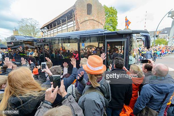 king willem alexander and queen maxima in the royal bus - zwolle stock photos and pictures