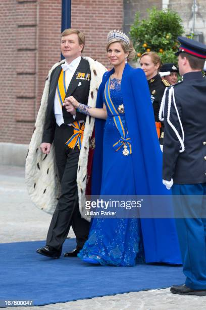 King Willem Alexander and Queen Maxima of the Netherlands leave the Nieuwe Kerk in Amsterdam after the inauguration ceremony of King Willem Alexander...