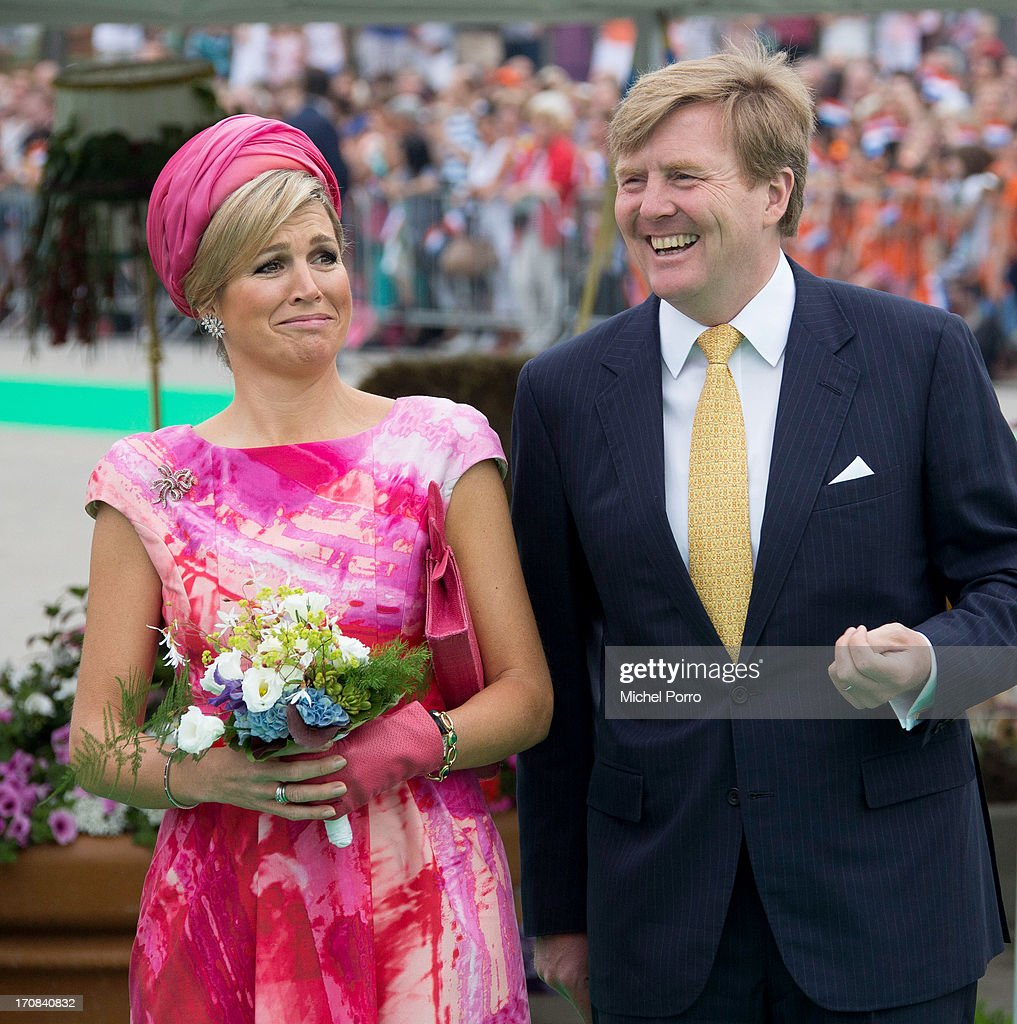King Willem Alexander and Queen Maxima of The Netherlands make at official visit to the Espalanade Harbour front on June 19, 2013 in Almere, Netherlands.