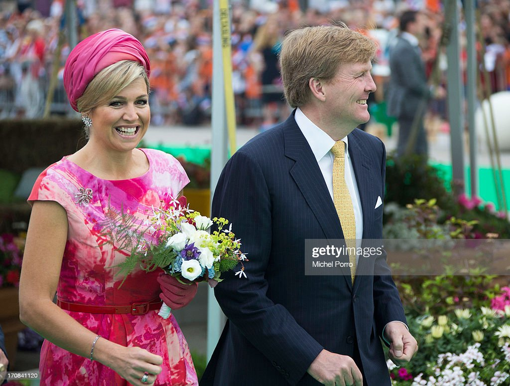 King Willem Alexander and Queen Maxima of The Netherlands participate in activities during an official visit to to Esplanade Harbour front on June 19, 2013 in Almere, Netherlands.