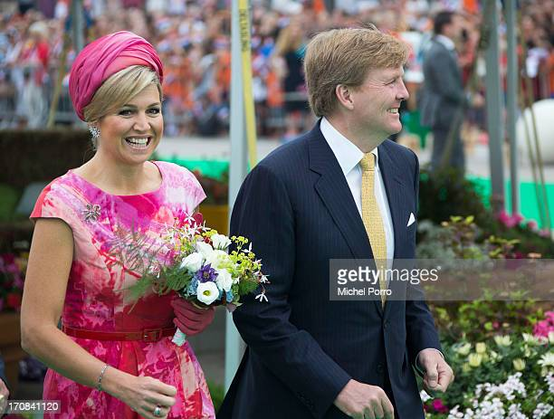 King Willem Alexander and Queen Maxima of The Netherlands participate in activities during an official visit to to Esplanade Harbour front on June 19...