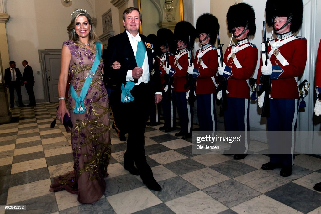 King Willem Alexander of the Nederlands and wife Queen Maxima arrive to the gala banquet on the occasion of The Crown Prince's 50th birthday at Christiansborg Palace on May 26, 2018 in Copenhagen, Denmark. Some 350 guest participated in the event