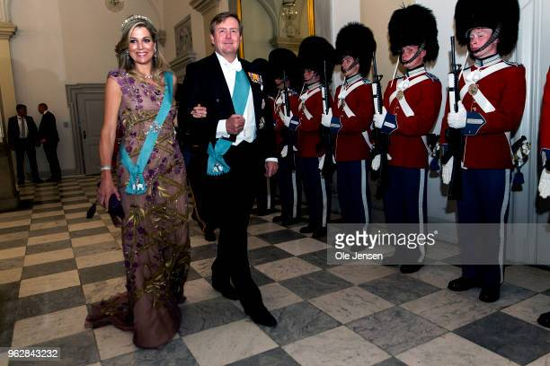King Willem Alexander of the Nederlands and wife Queen Maxima arrive to the gala banquet on the occasion of The Crown Prince's 50th birthday at...