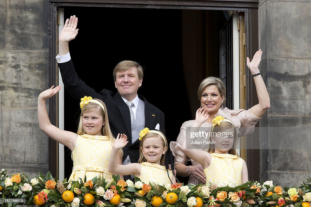 HM King Willem Alexander of the Netherlands and HM Queen Maxima of the Netherlands with their daughters (L-R) Princess Catharina Amalia, Princess Ariane and Princess Alexia appear on the Balcony of the Royal Palace in Amsterdam to greet the public after Queen Beatrix abdication and ahead of the inauguration of HM King Willem Alexander of the Netherlands of the Netherlands, on April 30, 2013 in Amsterdam, Netherlands.