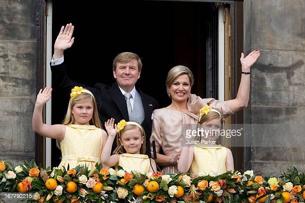 King Willem Alexander of the Netherlands and HM Queen Maxima of the Netherlands with their daughters Princess Catharina Amalia Princess Ariane and...