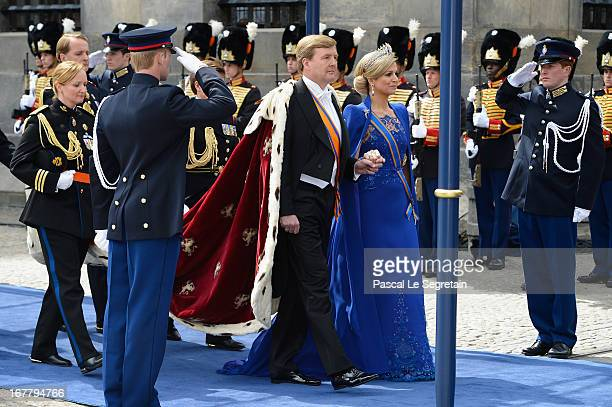 King Willem Alexander of the Netherlands and HM Queen Maxima of the Netherlands arrive to Nieuwe Kerk church ahead of his inauguration ceremony on...