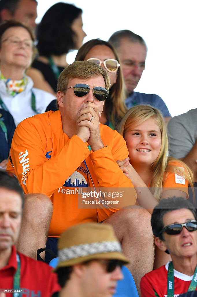 King Willem Alexander of the Netherlands and Princess Catharina-Amalia attend the Equestrian Jumping individual final round B of the Rio 2016 Olympic games at the Olympic Equestrian centre on August 19, 2016 in Rio de Janeiro, Brazil.