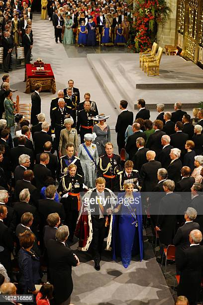 King Willem Alexander of the Netherlands and Queen Maxima of the Netherlands leave after attending the inauguration of King Willem-Alexander in front...