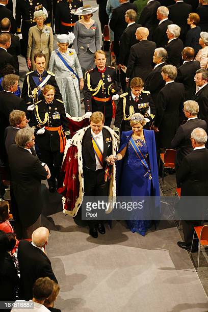 King Willem Alexander of the Netherlands and Queen Maxima of the Netherlands leave after attending the inauguration of King WillemAlexander in front...