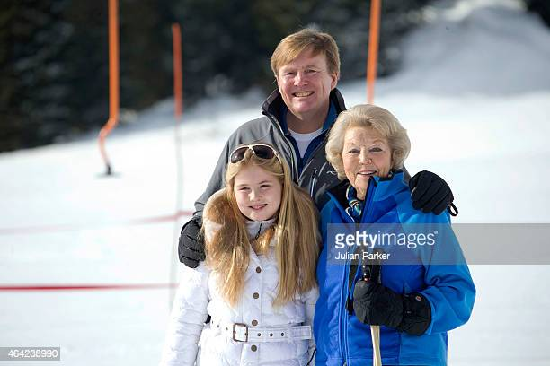 King Willem Alexander of The Netherlands Crown Princess Catharina Amalia and Princess Beatrix of The Netherlands attend a Photo Session during their...