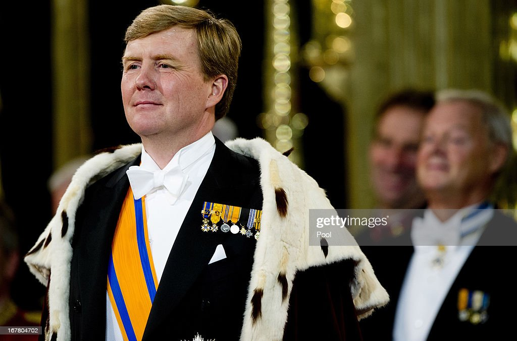 HM King Willem Alexander of the Netherlands during the inauguration ceremony at New Church on April 30, 2013 in Amsterdam, Netherlands.