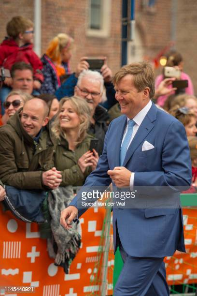 King Willem Alexander of the Netherlands during the visit to the city of Amersfoort to celebrate Kingsday on April 27 2019 in Amersfoort Netherlands