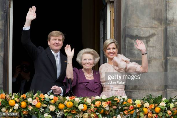 King Willem Alexander of the Netherlands, HRH Princess Beatrix of the Netherlands and and HM Queen Maxima of Holland of the Netherlands appear on the...