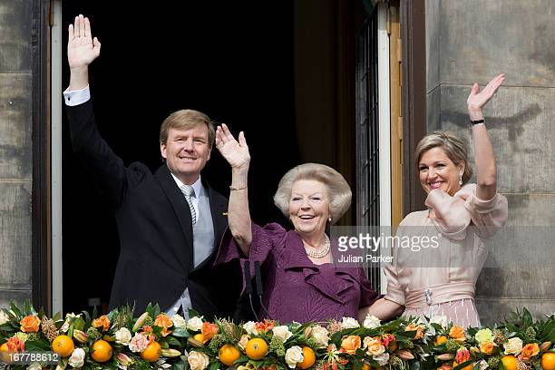 HM King Willem Alexander of the Netherlands HRH Princess Beatrix of the Netherlands and and HM Queen Maxima of Holland of the Netherlands appear on...