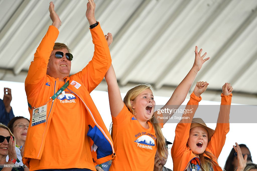 King Willem Alexander of the Netherlands, Princess Catharina-Amalia of the Netherlands and Princess Ariane of the Netherlands attend the Equestrian Jumping individual final round B of the Rio 2016 Olympic games at the Olympic Equestrian centre on August 19, 2016 in Rio de Janeiro, Brazil.