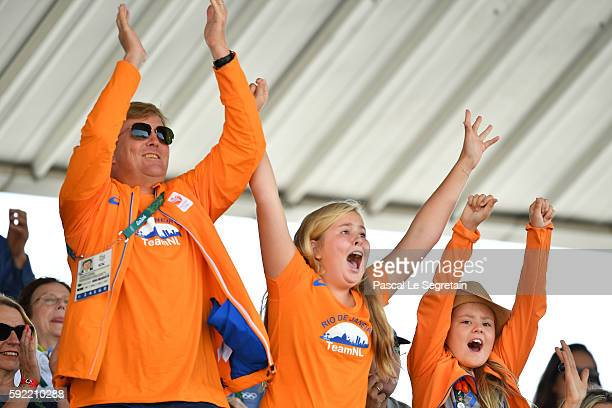 King Willem Alexander of the Netherlands, Princess Catharina-Amalia of the Netherlands and Princess Ariane of the Netherlands attend the Equestrian...