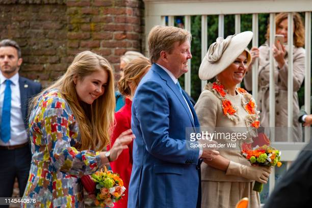 King Willem Alexander of the Netherlands Queen Maxima of the Netherlands and Princess CatharinaAmalia of the Netherlands during their visit to the...