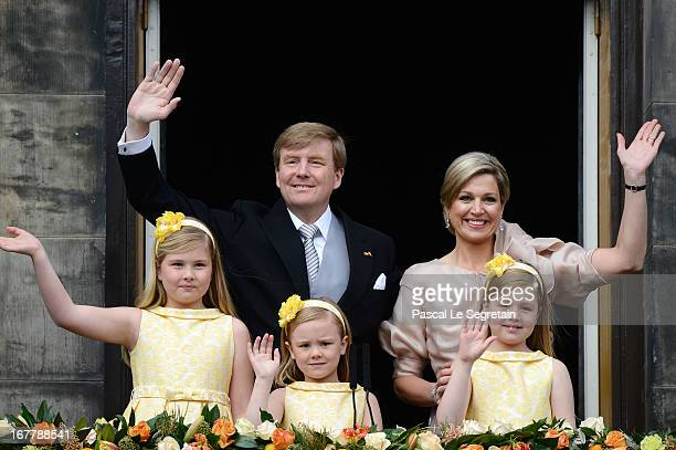 King Willem Alexander, Queen Maxima and their daughters Princess Catharina Amalia, Princess Ariane and Princess Alexia of the Netherlands appear on...