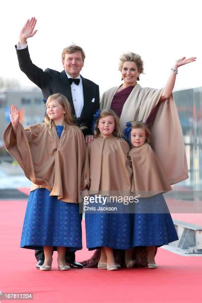 King Willem Alexander; Queen Maxima and their daughters Princess Catharina-Amalia; Princess Alexia and Princess Ariane of The Netherlands arrive at...
