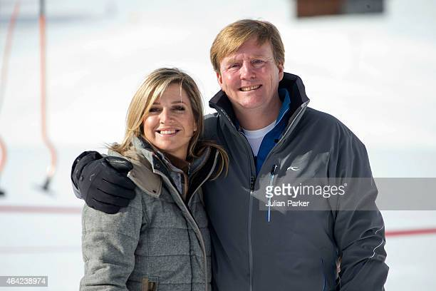 King Willem Alexanderof The Netherlands and Queen Maxima of The Netherlands attend a Photo Session, during their annual winter ski holiday, on...