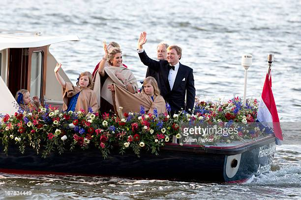 King Willem and Queen Maxima of the Netherlands and their daughters Princess CatharinaAmalia Princess Alexia and Princess Ariane aboard the Kings...