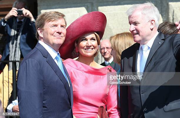 King WillemAlexander and his wife Queen Maxima of the Netherlands and Prime Minister of Bavaria Horst Seehofer during a twoday visit in Bavaria to...