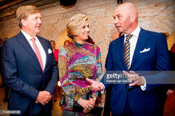 King WillemAlexander and of The Netherlands and Queen Maxima of The Netherlands attend an literary dinner with Dutch Writer Tommy Wieringa on May 21...