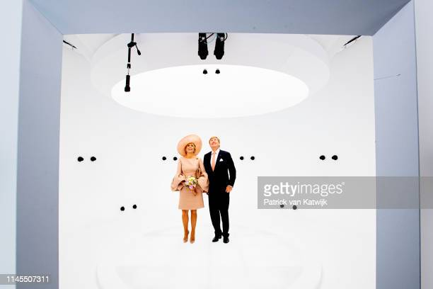 King WillemAlexander and of The Netherlands and Queen Maxima of The Netherlands in the Volucap Studio in Medienstadt on May 22 2019 in Rostock Germany