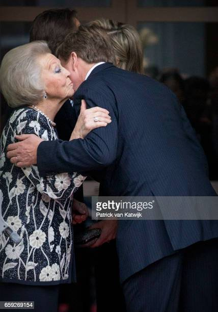 King WillemAlexander and Princess Beatrix kissing goodbye after the ballet performance offered by the President of Argentie at theater Dilligentia on...