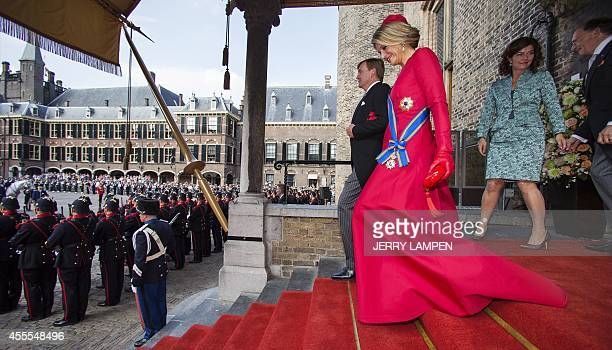 King WillemAlexander and Queen Maxima leave the Hall of Knights for the speech from the throne on September 16 2014 in The Hague during Prinsjesdag...