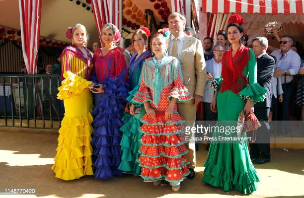 King Willem-Alexander and Queen Maxima of the Netherland attend `Feria de Sevilla´ in Spain with their three children on May 10, 2019 in Seville,...