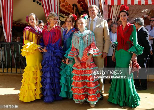 King WillemAlexander and Queen Maxima of the Netherland attend `Feria de Sevilla´ in Spain with their three children on May 10 2019 in Seville Spain