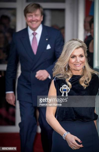 King WillemAlexander and Queen Maxima of The Netherlands after the ballet performance offered by the President of Argentie at theater Dilligentia on...