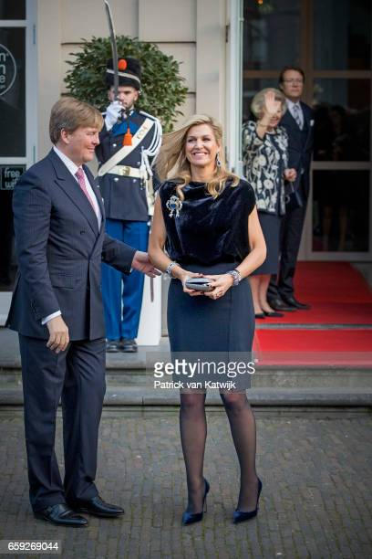 King WillemAlexander and Queen Maxima of The Netherlands after the ballet performance offered by the President of Argentine Mauricio Macri at theater...