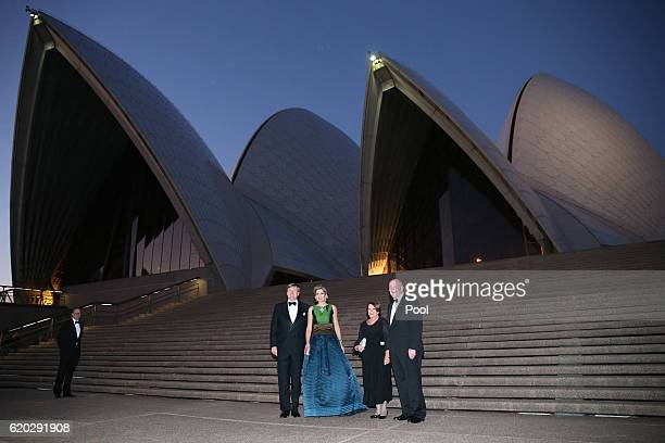 King Willem-Alexander and Queen Maxima of the Netherlands and Australian Governor-General Peter Cosgrove and his wife Lady Cosgrove pose for a...