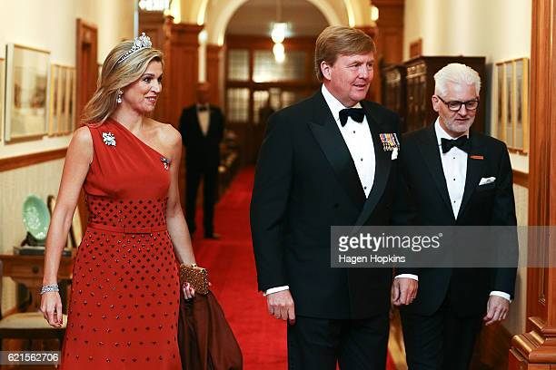 King WillemAlexander and Queen Maxima of the Netherlands arrive during a state dinner at Government House on November 7 2016 in Wellington New...