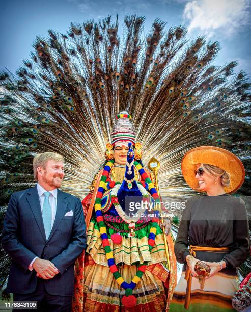 King Willem-Alexander and Queen Maxima of The Netherlands arrive at the airport during their state visit to India, on October 17, 2019 in Kochi,...