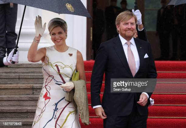 King Willem-Alexander and Queen Maxima of the Netherlands arrive at Castle Bellevue on July 05, 2021 in Berlin, Germany. Their Royal Highnesses are...