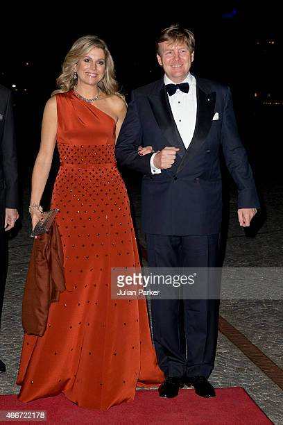 King WillemAlexander and Queen Maxima of the Netherlands arrive at The Black Diamond in Copenhagen to host a return arrangement during their State...