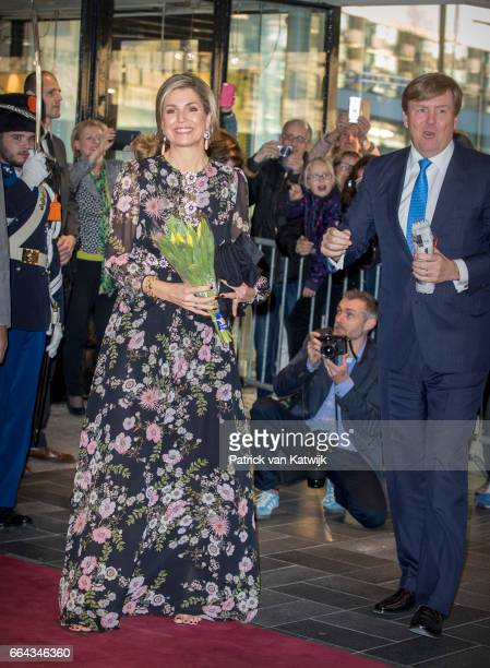 King WillemAlexander and Queen Maxima of the Netherlands arrive at Theater Tilburg for the Kingsday concert on April 4 2017 in Tilburg The Netherlands