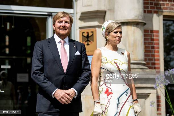King Willem-Alexander and Queen Maxima of the Netherlands arrive for a visit to the Robert Koch Institute on July 05, 2021 in Berlin, Germany. Their...