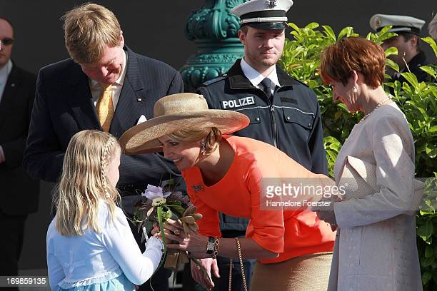 King WillemAlexander and Queen Maxima of The Netherlands arrive for a visit to the federal state of Hesse on June 3 2013 in Wiesbaden Germany King...