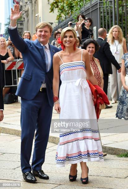 King WillemAlexander and Queen Maxima of The Netherlands arrive for the visit at the Cenacolo Vinciano in the Refectory of the Convent of Santa Maria...